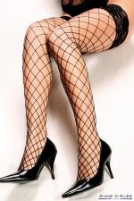 Bas autofixants Erica Noir - Anne d'Alès - Mettez en scène la beauté de vos jambes avec les bas Erica en filet noir, des bas autofixants créés par Anne d'Alès.
