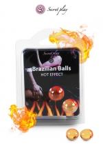 2 Brazilian Balls effet chaleur  : La chaleur du corps transforme la brazilian ball en liquide glissant à effet chaud, votre imagination s'en trouve exacerbée.