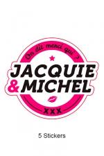 Pack 5 stickers J&M n°1 - Pack de 5 Stickers blancs Jacquie & Michel  (dimensions 8.1 x 7 cm) à coller où vous voulez.