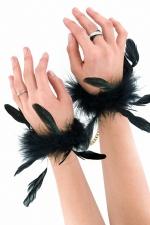 Menottes à plumes - Sweet Caress : Luxueuses menottes recouvertes de plumes naturelles et reliées par une chaîne dorée avec fixation par mousquetons.