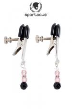 Pinces à seins Pink Beaded - Des pendentifs de perles roses au bout de pinces à tétons alligator ajustables, des bijoux qui feront palpiter vos seins.